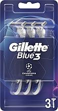 Voňavky, Parfémy, kozmetika Sada jednorazových holiacich strojčekov, 3ks - Gillette Blue3 Comfort Football