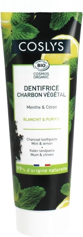 Zubná pasta uhoľná s mätou a citrónom - Coslys Mint & Lemon Charcoal Toothpaste — Obrázky N1