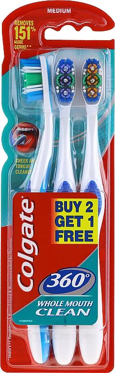 Sada stredne tvrdých zubných kefiek, modrá + fialová + oranžová - Colgate 360