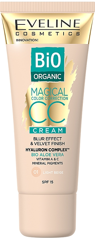 Tónovací CC krém - Eveline Cosmetics Bio Organic Magical CC Cream SPF 15