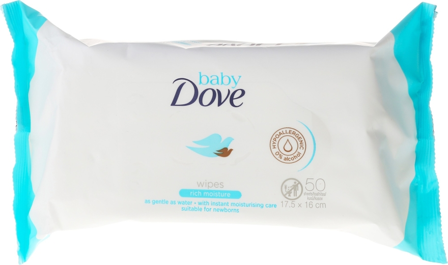 Vlhčené obrúsky, 50 ks - Dove Baby Care Rich Moisture Wipes