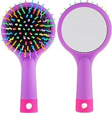 Voňavky, Parfémy, kozmetika Kefa na vlasy so zrkadlom, fialová - Twish Handy Hair Brush with Mirror Lavender Floral