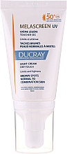 Voňavky, Parfémy, kozmetika Ľahký antipigmentačný krém pre normálnu a kombinovanú pleť - Ducray Melascreen UV Light Cream SPF 50+
