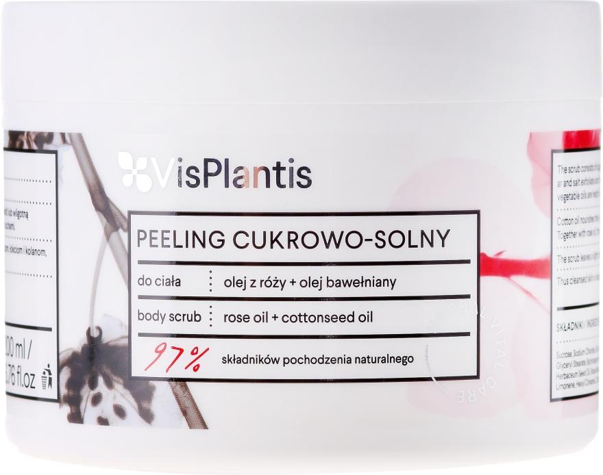 Scruby z cukrovej soli pre telo s ružovým a bavlníkovým olejom - Vis Plantis Herbal Vital Care Body Scrub
