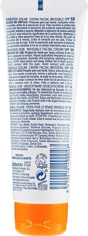 Krém na tvár s SPF ochranou - Babaria Invisible Facial Sun Cream Spf 50 — Obrázky N2