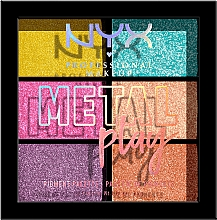 Voňavky, Parfémy, kozmetika Paleta pigmentov na očné viečka, tvár a telo - NYX Professional Makeup Metal Play Pressed Pigment Palette