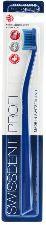 Zubná kefka, stredne mäkká, modrá - SWISSDENT Profi Colours Soft-Medium Toothbrush Blue&Blue — Obrázky N1