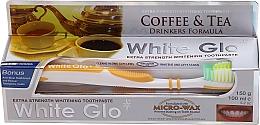 """Voňavky, Parfémy, kozmetika Sada """"Pre milovníkov čaju a kávy"""", žltá kefka - White Glo Coffee & Tea Drinkers Formula Whitening Toothpaste (t/paste/100ml + t/brush)"""