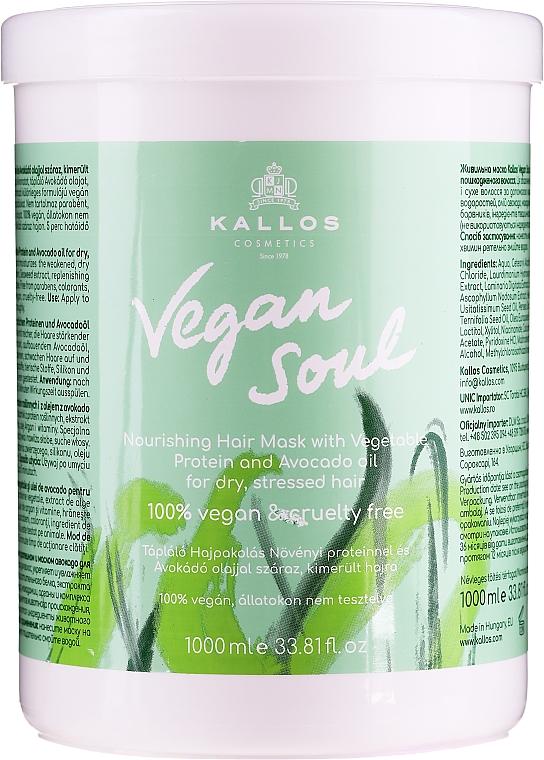 Výživná maska na vlasy s rastlinnými proteínmi a avokádovým olejom - Kallos Cosmetics KJMN Vegan Soul Nourishing Hair Mask