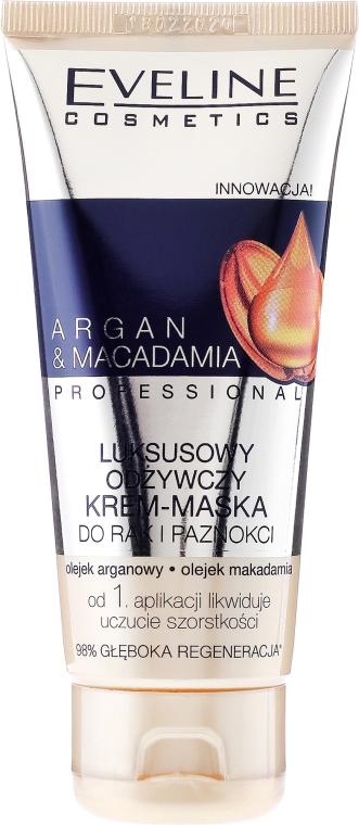 Luxusná vyživná krém-maska na ruky a nechty - Eveline Cosmetics Argan & Macadamia Hand Cream — Obrázky N1