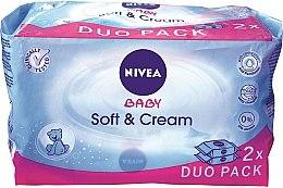 """Voňavky, Parfémy, kozmetika Vlhké obrúsky """"Detské"""" 2x63 ks - Nivea Baby Soft & Cream"""
