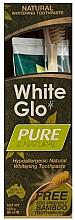 """Voňavky, Parfémy, kozmetika Sada """"Prírodné čistenie"""" s bambusovou zubnou kefkou - White Glo Pure & Natural (t/paste/85ml + t/brush/1)"""