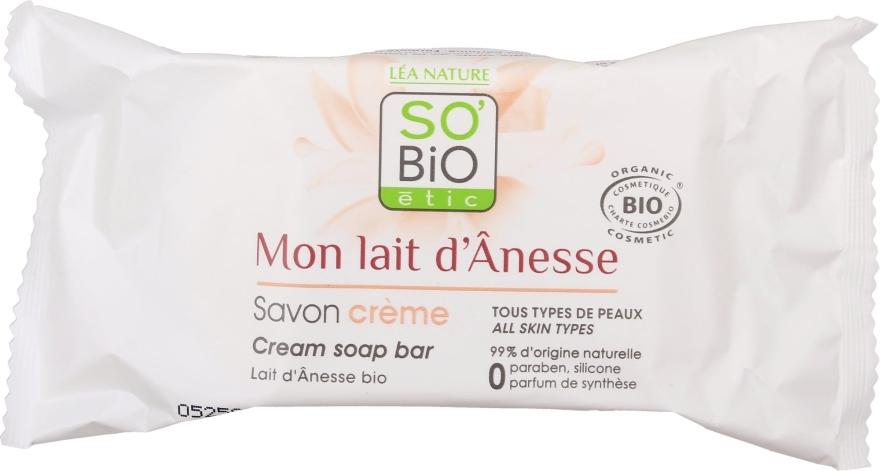 Krémové mydlo s oslím mliekom - So'Bio Etic Donkey's Milk Face Cream Soap — Obrázky N1