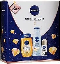 Voňavky, Parfémy, kozmetika Sada - Nivea Touch of Gold (sh/oil/200ml + b/balm/200ml + deo/50ml)