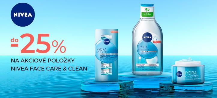 Zľavy do -25% na akciové položky Nivea Face Care & Clean. Ceny na stránke sú uvedené so zľavou