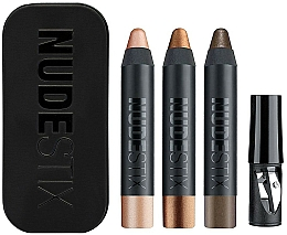 Voňavky, Parfémy, kozmetika Sada - Nudestix Mini Nude Metallic Eye (eye/pencil/3 x 2.5g + sharpener + box)