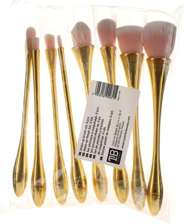 Sada profesionálnych štetcov na líčenie, 8 ks, ružové so zlatým - Tools For Beauty