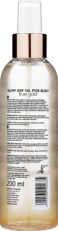 Olej na telo - Silcare Quin Glow Dry Oil for Body True Gold — Obrázky N2