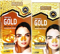 Voňavky, Parfémy, kozmetika Čistiace pásky na nos - Beauty Formulas Purifying Gold Nose Pore Strips