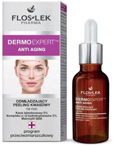 Omladzujúci nočný kyselinový peeling na tvár - Floslek Dermo Expert Anti Aging Peeling