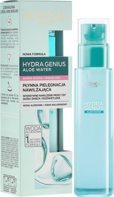 Aqua-fluid na tvár, pre suchú a citlivú pokožku - L'Oreal Paris Hydra Genius Aloe Water