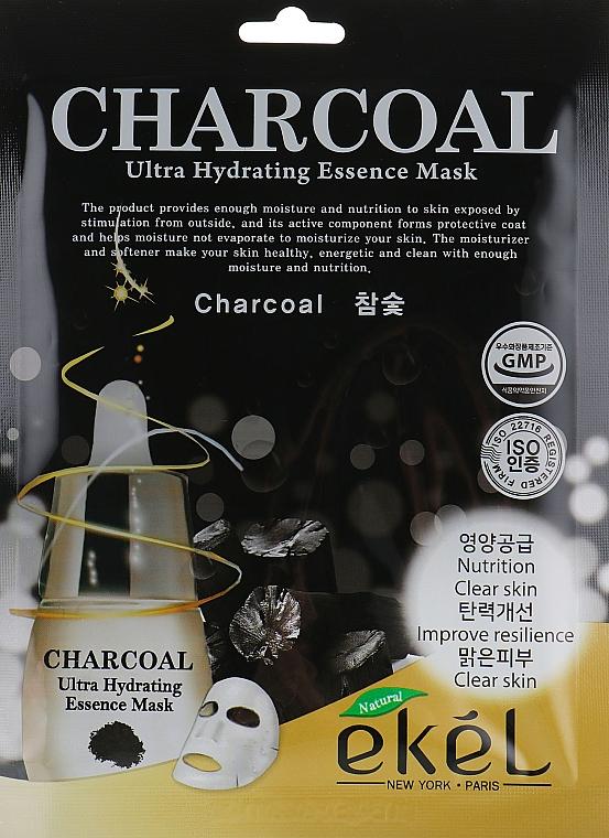 Textilná maska s dreveným uhlím - Ekel Charcoal Ultra Hydrating Essence Mask