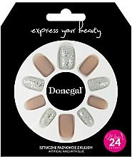 Voňavky, Parfémy, kozmetika Sada umelých nechtov s lepidlom, 3063 - Donegal Express Your Beauty