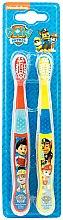 Voňavky, Parfémy, kozmetika Sada zubných kefiek, mäkké, červená + žltá - Nickelodeon Paw Patrol (toothbrush/2szt)