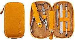 """Voňavky, Parfémy, kozmetika Manikúrová sada """"Basic Eco"""", MS-01E, 5 predmetov, horčicovej farby - Staleks Manicure Set"""