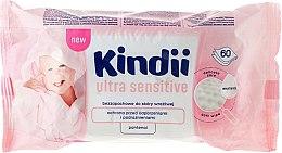 Detské vlhčené obrúsky, 60ks - Cleanic Kindii Baby Sensitive Wipes — Obrázky N1