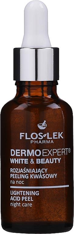 Rozjasňujúci kyselinový peeling na noc - Floslek White & Beauty Night Peeling