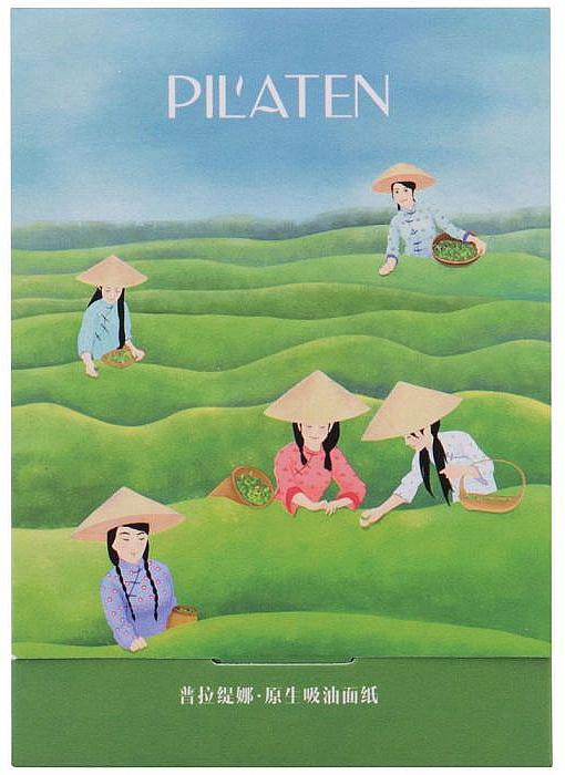 """Zmatňujúce utierky na tvár """"Zelený čaj"""" - Pil'aten Green Tea Native Blotting Paper — Obrázky N1"""
