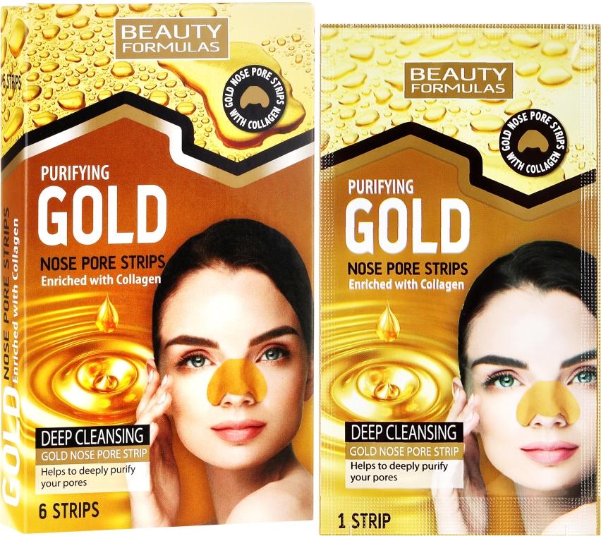 Čistiace pásky na nos - Beauty Formulas Purifying Gold Nose Pore Strips