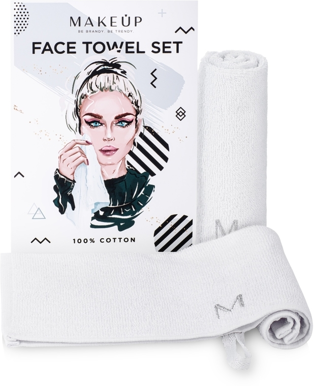 """Cestovná sada uterákov na tvár, biele """"MakeTravel"""" - Makeup Face Towel Set"""