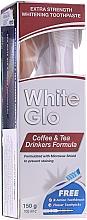 """Voňavky, Parfémy, kozmetika Sada """"Pre milovníkov čaju a kávy"""", bielo-ružová kefka - White Glo Coffee & Tea Drinkers Formula Whitening Toothpaste (toothpaste/100ml + toothbrush)"""