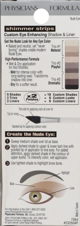 Paleta tieňov na viečka - Physicians Formula Shimmer Strips Custom Eye Enhancing Shadow & Liner Nude Eyes — Obrázky N3