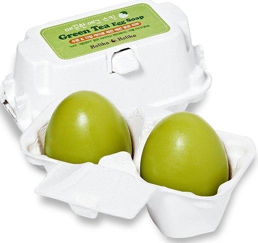 Mydlová maska na umývanie s zeleným čajom - Holika Holika Green Tea Egg Soap