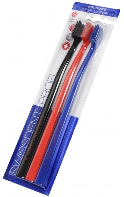 Sada zubných kefiek, stredne mäkká čierna + červená + modrá - SWISSDENT Profi Colours Soft-Medium Trio-Pack — Obrázky N2