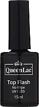 Voňavky, Parfémy, kozmetika Top na gélový lak bez lepivej vrstvy - QueenLac Top Flash No Wipe UV/LED