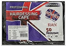 Voňavky, Parfémy, kozmetika Jednorazové kadernícke pláštenky z čiernej fólie - Ronney Professional Hairdressing Cape