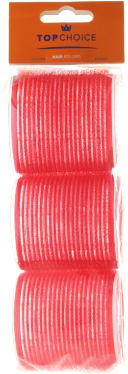 """Samodržiace natáčky na vlasy """"Velcro"""" diameter 60 mm, 3 ks, 0607, červené - Top Choice"""