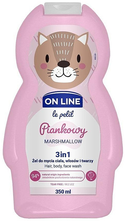 """Čistiaci prípravok na vlasy a telo """"Marshmallow"""" - On Line Le Petit Marshmallow 3 In 1 Hair Body Face Wash"""
