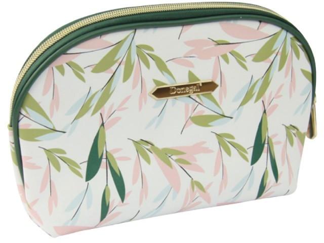 """Kozmetická taška """"Spring Flower"""" veľká 4996, biela so zelenou - Donegal"""