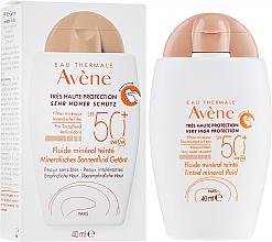 Voňavky, Parfémy, kozmetika Opaľovací krém s tónovaným efektom - Avene Eau Thermale Tinted Mineral Fluid SPF 50+