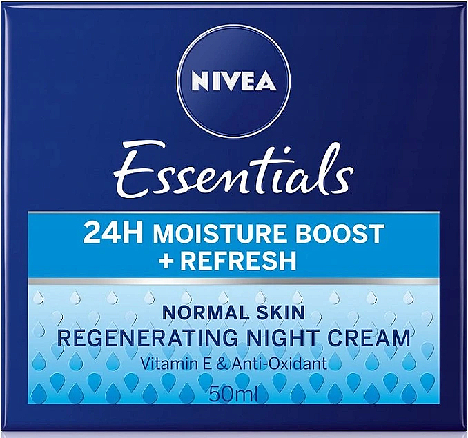 Nočný krém pre normálnu pokožku - Nivea Essentials 24H Moisture Boost + Refresh Cream