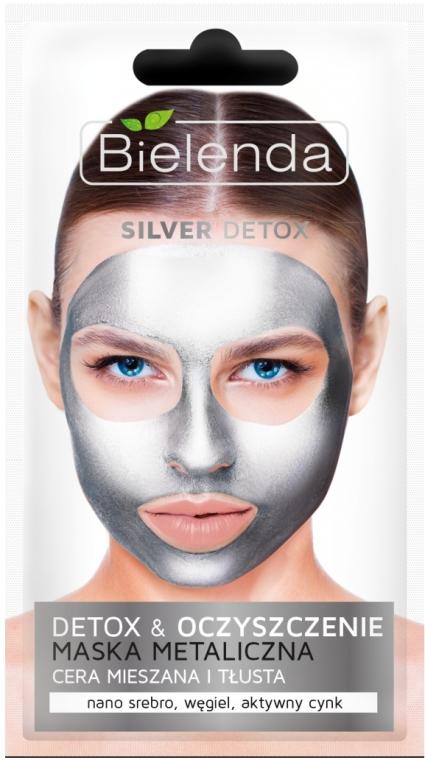 Detoxikačná maska pre mastnú a kombinovanú pleť - Bielenda Silver Detox Metallic Mask