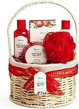Voňavky, Parfémy, kozmetika Sada - IDC Institute Vintage Fruits (sh/g/160ml+b/lot/160ml+b/scrub/110ml+salt/100g+sponge+basket)