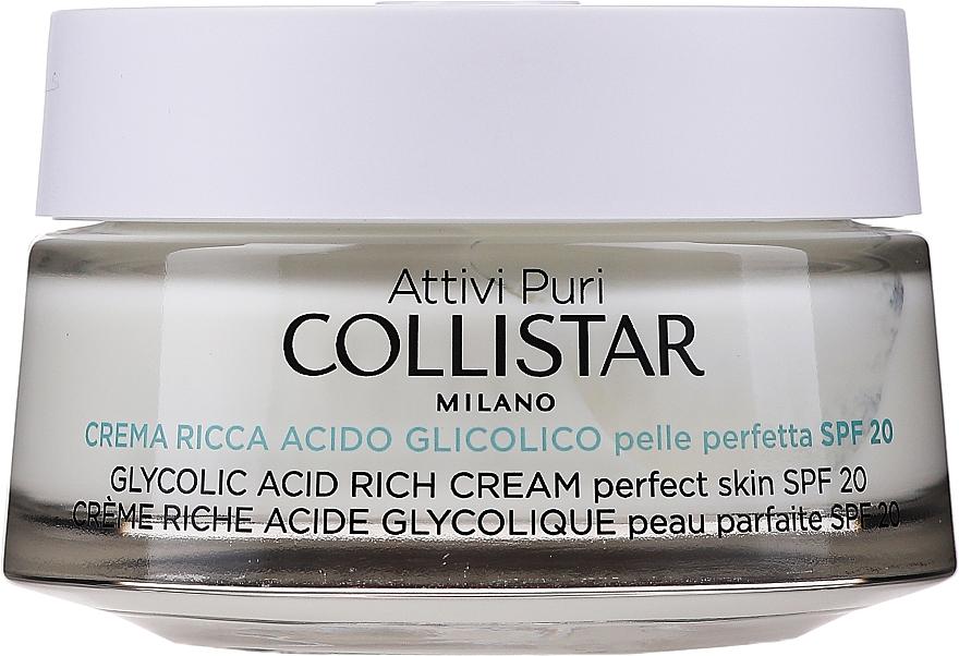 Nasýtený krém s glykolovou kyselinou pre dokonalú pokožku tváre - Collistar Pure Actives Glycolic Acid Rich Cream SPF20 — Obrázky N1