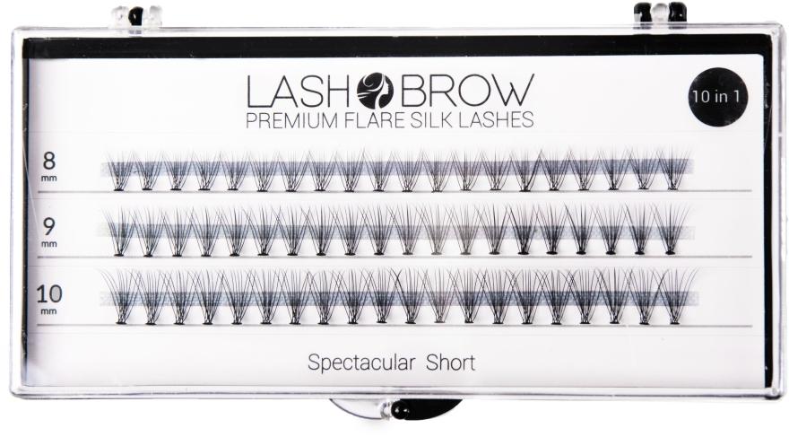 Falošné riasy - Lash Brown Premium Flare Silk Lashes Spectacular Short — Obrázky N1