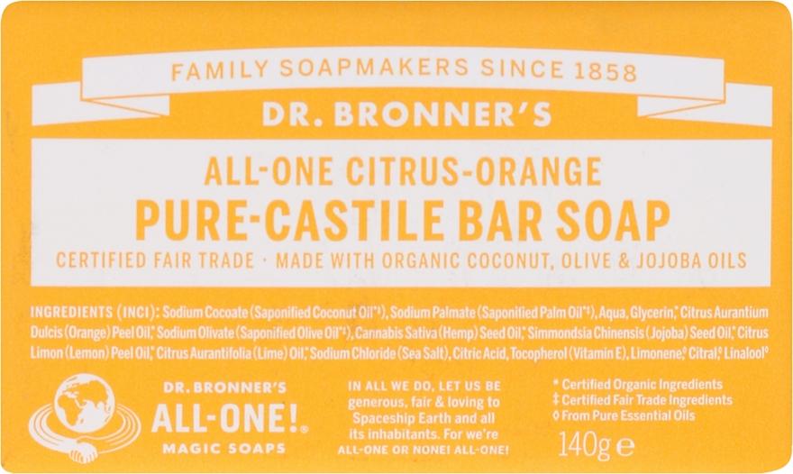 """Mydlo """"Citrus a Orange"""" - Dr. Bronner's Pure Castile Bar Soap Citrus & Orange"""